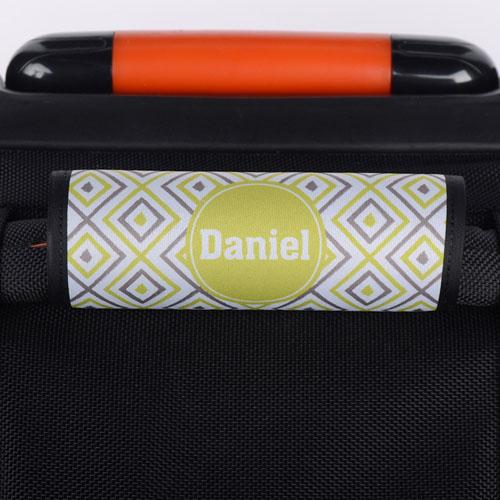 Lime Grey Ikat Personalized Luggage Handle Wrap