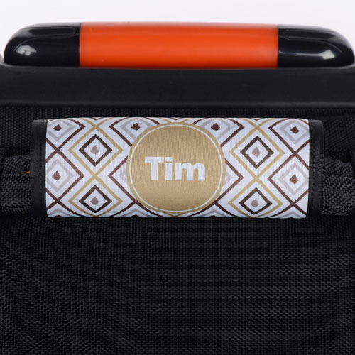 Brown Grey Ikat Personalized Luggage Handle Wrap