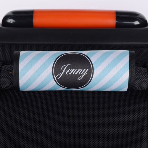 Peacock Stripe Personalized Luggage Handle Wrap