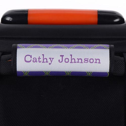 Navy Lime Quatrefoil Personalized Luggage Handle Wrap
