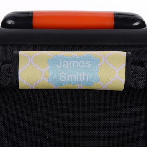 Yellow Quatrefoil Blue Personalized Luggage Handle Wrap