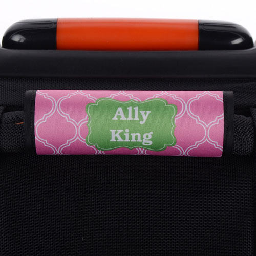 Pink Quatrefoil Green Personalized Luggage Handle Wrap
