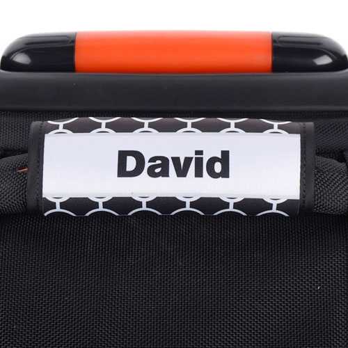 Black Circle Grey Frame Personalized Luggage Handle Wrap