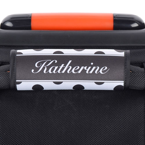 Black And White Polka Dot Personalized Luggage Handle Wrap