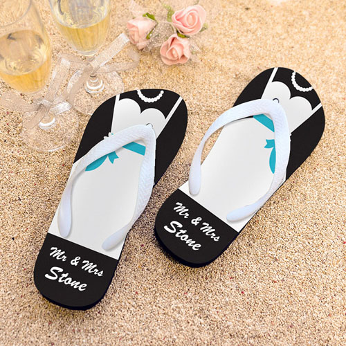 Mrs. Personalized Wedding Flip Flops, Women Medium
