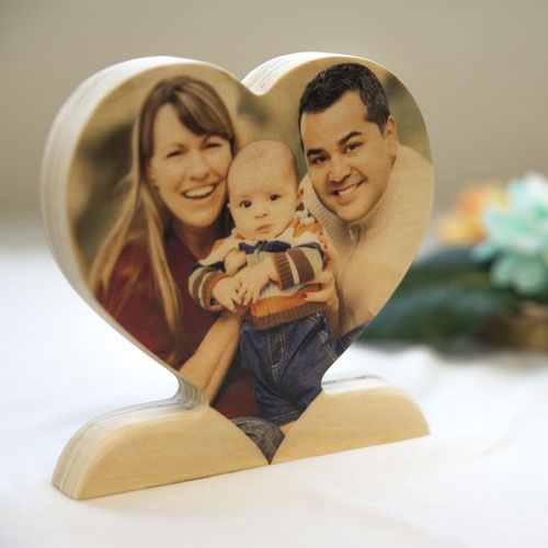 Personalized Wooden Photo Heart For Mom Decor
