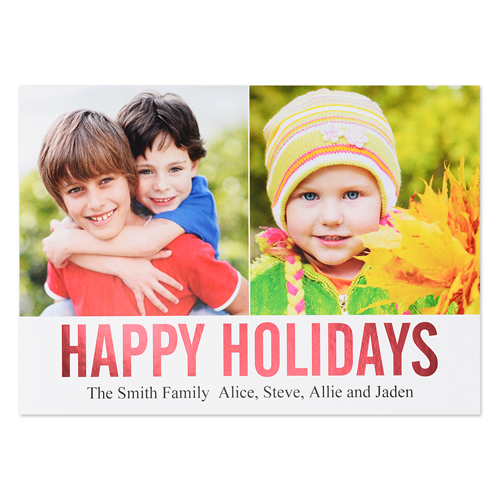 Red Foil Personalized Two Collage Photo Happy Holidays Flat Card, 5X7