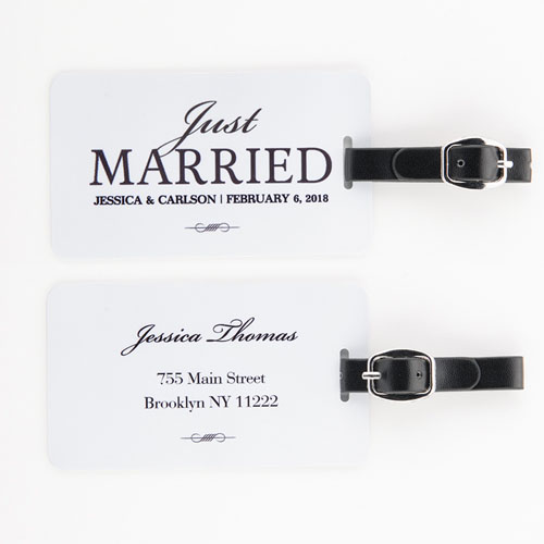Just Married Personalized Luggage Tag, white