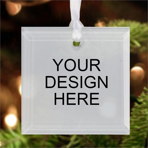 Custom Imprint Glass Ornament Square 3