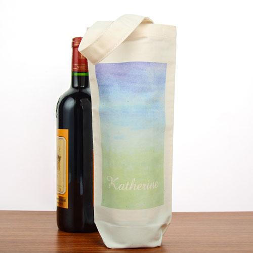 Green Blue Watercolor Personalized Cotton Wine Tote Bag