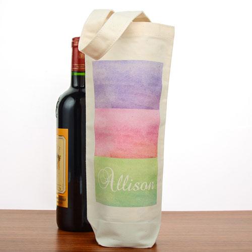 Watercolor Stripe Personalized Cotton Wine Tote Bag