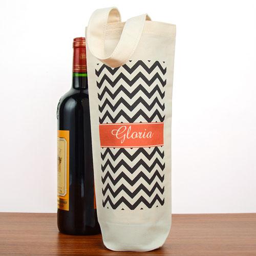 Black Chevron Personalized Cotton Wine Tote Bag