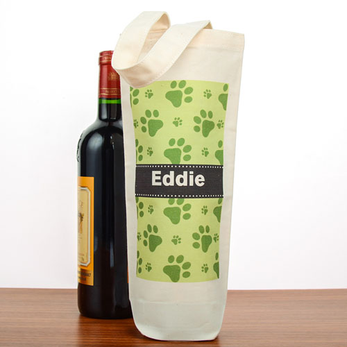 Paw Print Personalized Cotton Wine Tote Bag