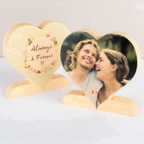 Always and Forever Dot Wooden Photo Heart