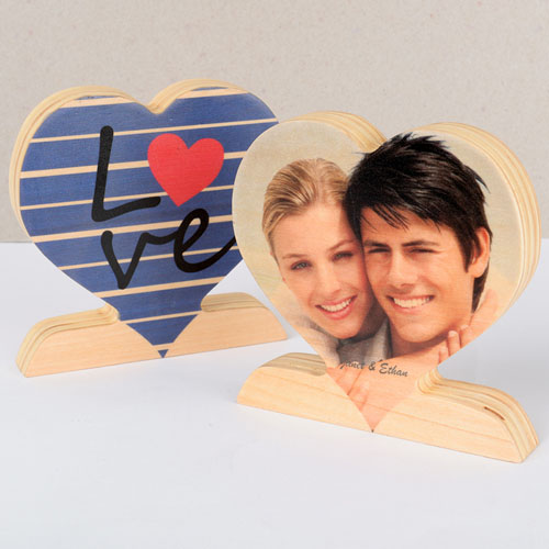 Stripe and Love Wooden Photo Heart