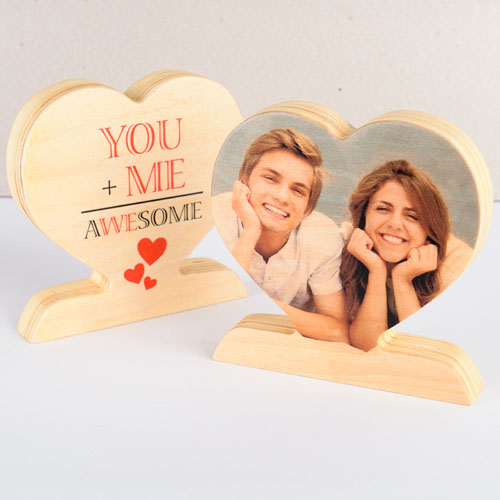 You and Me Awesome Wooden Photo Heart