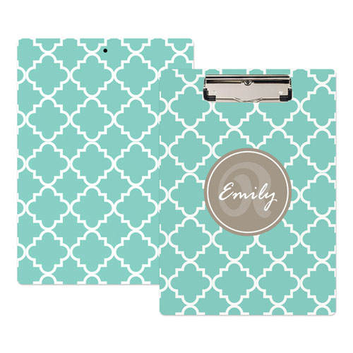 Mint Quatrefoil Personalized Clipboard