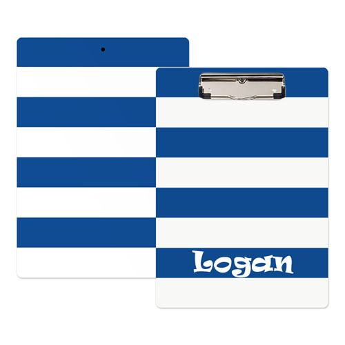 Navy White Stripe Personalized Clipboard