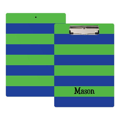 Green Navy Stripe Personalized Clipboard