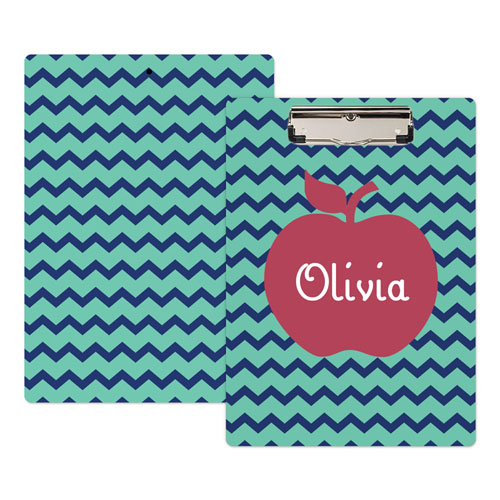 Navy Chevron Apple Personalized Clipboard