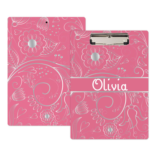 Pink Floral Personalized Clipboard