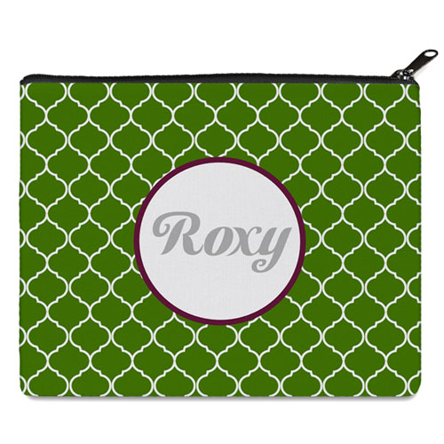 Green Quatrefoil Personalized 8X10 Cosmetic Bag