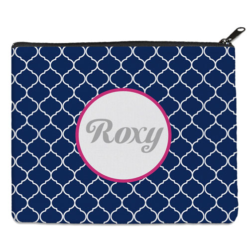 Navy Quatrefoil Personalized 8X10 Cosmetic Bag
