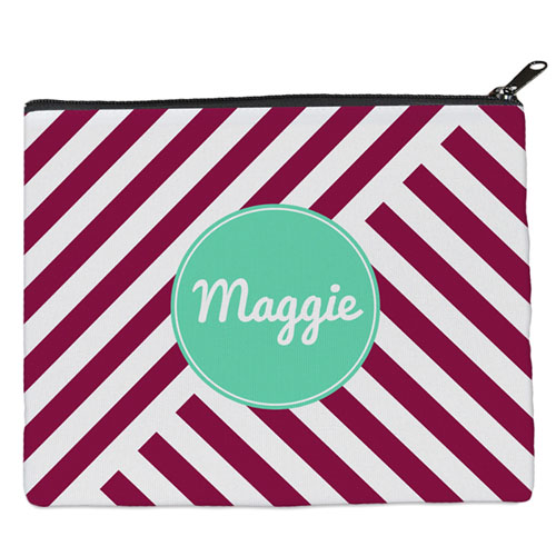 Plum Stripe Personalized 8X10 Cosmetic Bag