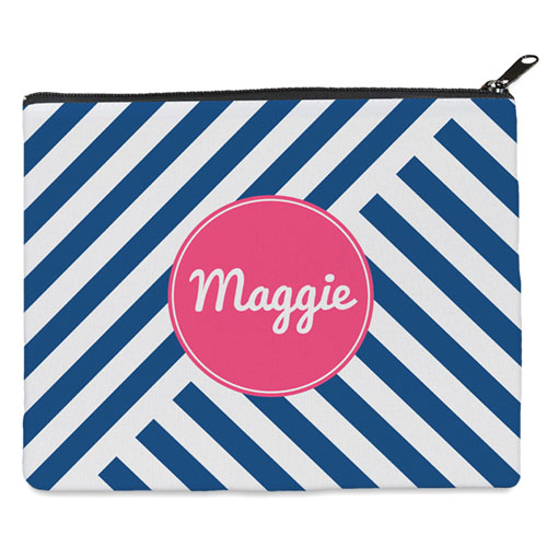Navy Stripe Personalized 8X10 Cosmetic Bag