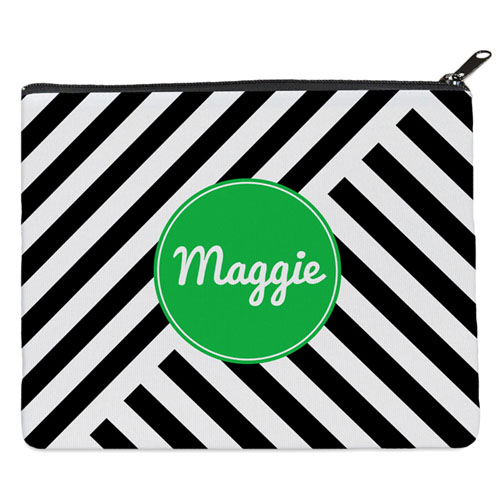 Black Stripe Personalized 8X10 Cosmetic Bag