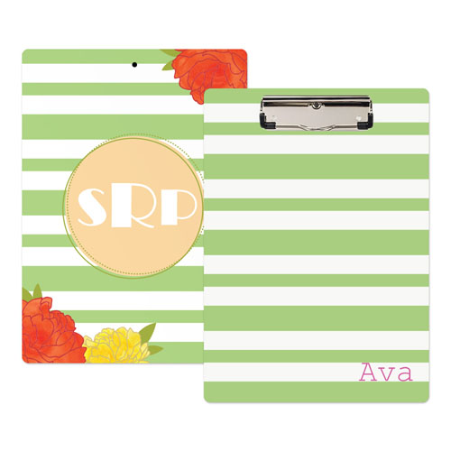 Green Striped Rose Personalized Clipboard