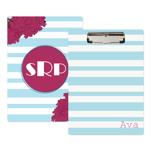 Blue Striped Flower Personalized Clipboard