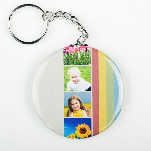 Rainbow Collage Personalized Button Keychain