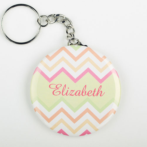 Chevron Personalized Button Keychain