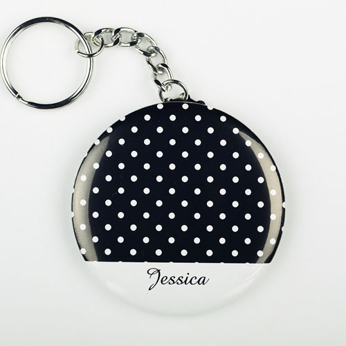 Polka Dot Personalized Button Keychain