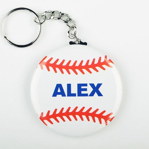 Baseball Personalized Button Keychain