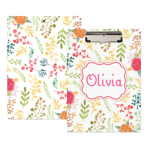 Watercolor Floral Personalized Clipboard
