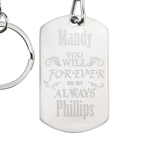 Forever Personalized Dog Tag Keychain