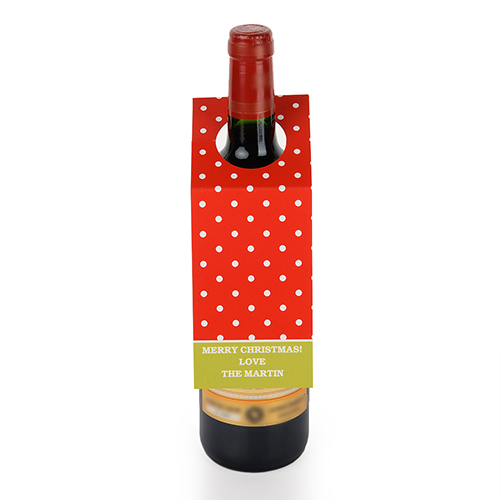 Red Polka Dots Personalized Wine Tag, set of 6