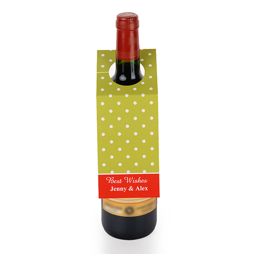 Lime Polka Dots Personalized Wine Tag, set of 6
