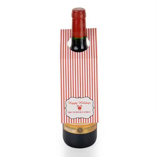 Holiday Stripe Personalized Wine Tag, set of 6