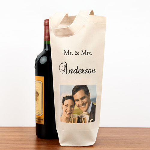Wedding Photo Personalized Cotton Wine Bag Bag