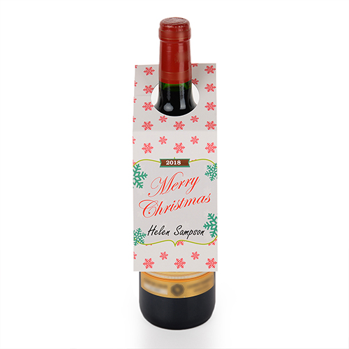 Swirl Merry Christmas Personalized Wine Tag, set of 6