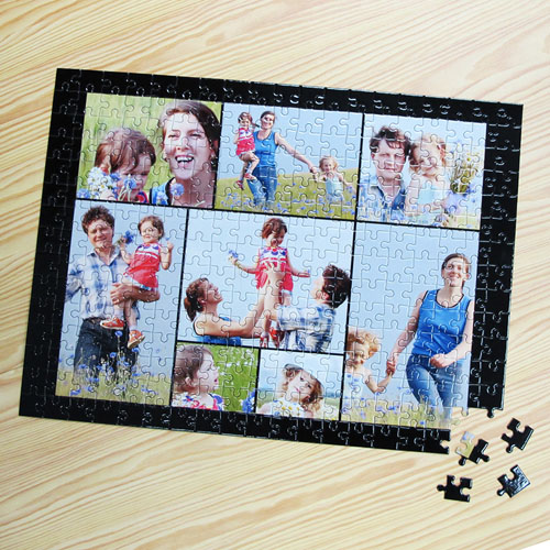 Personalized Black 8 Collage 12X16.5 Photo Puzzle