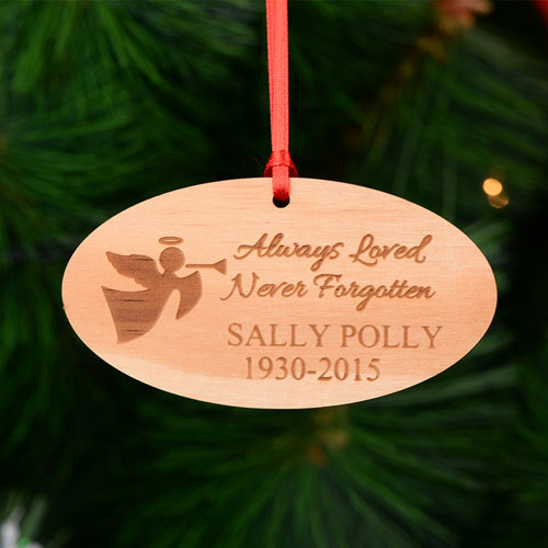Memorial Personalized Engraved Wooden Ornament