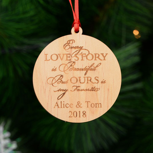 Love Story Christmas Personalized Wood Ornament