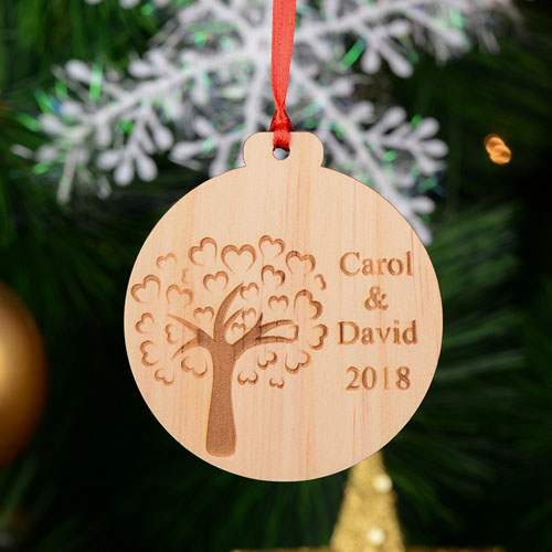 Love Tree Personalized Engraved Wooden Ornament