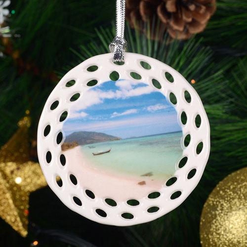 Personalized Ceramic Round Filigree Ornament (Custom 1 Side)