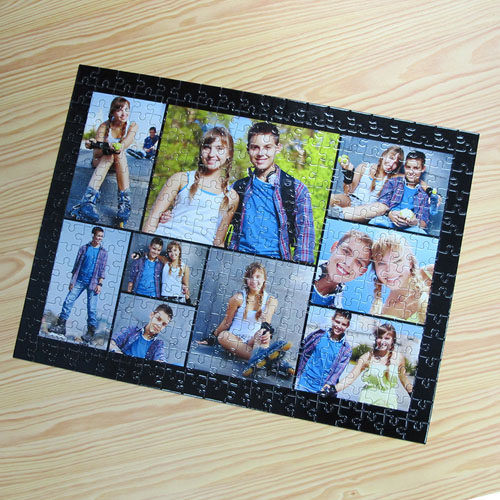 Personalized Black 9 Collage 12X16.5 Photo Puzzle
