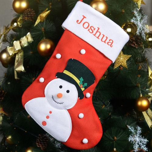 Customizable Embroidered Name Snowman Christmas Stocking